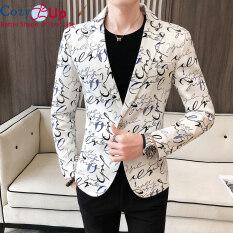 Áo Blazer Cozy Up Họa Tiết Hoa Cho Nam, Áo Khoác Đường Phố, Dáng Ôm Vừa Vặn, Một Khuy, Mặc Hàng Ngày Vào Ban Đêm, Mùa Xuân 2020