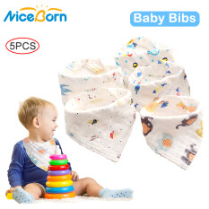 Bộ 5 cái yếm NiceBorn chất liệu cotton 100% 6 lớp mềm mại thoáng khí họa tiết hoạt hình dùng thấm nước dãi cho bé trai/bé gái – INTL