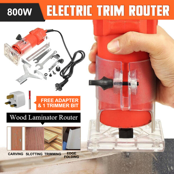66 Happy Tool Ready Stock 220V Electric Hand Trimmer Wood Router Clean Cuts Woodworking Tool Set (Free 1pcs Trimmer Bit)