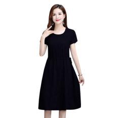 Đầm nữ dáng chữ A tay ngắn cổ tròn chiết eo chất liệu vải polyester mềm mại co giãn thoáng khí thích hợp mặc hàng ngày – INTL