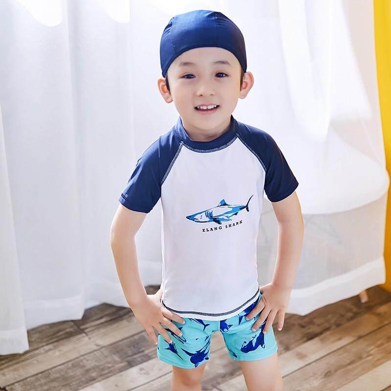 20cb05a819 Babysmikee Children Kids Boys Cartoon Shark Top+Shorts+Hat Swimsuit  Swimwear Sets