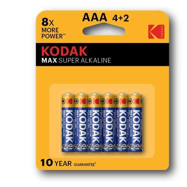 6PCS GENUINE KODAK Max AAA Alkaline Battery 1.5V - K3A-4+2 Malaysia