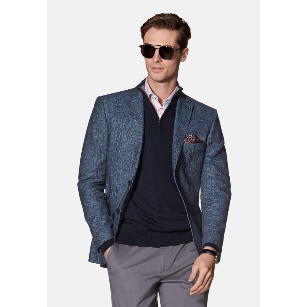 T.M.Lewin Mens  Adlington Jacket in Blue Cotton Linen