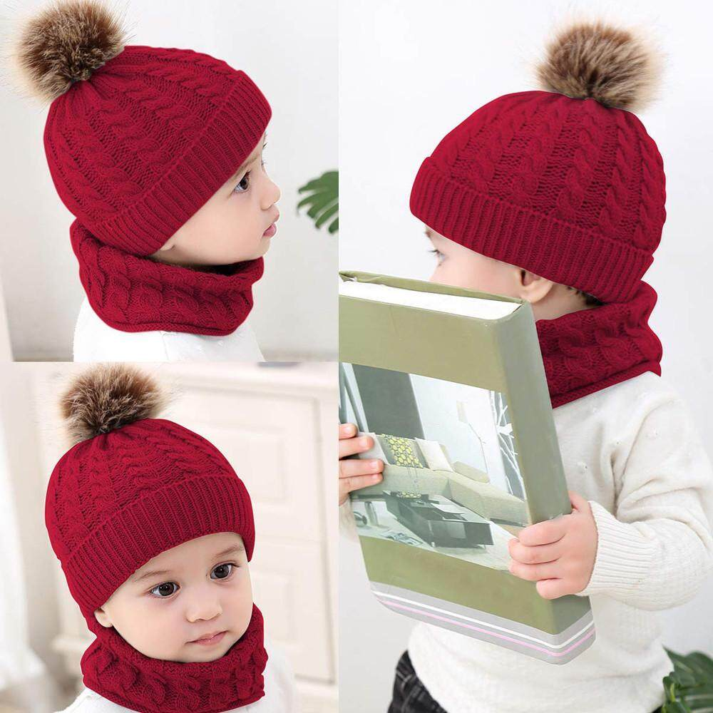ecbc29635c1 2Pcs Toddler Baby Girls Boys Winter Warm Knitted Beanie Cap+Scarf Keep Warm  Set