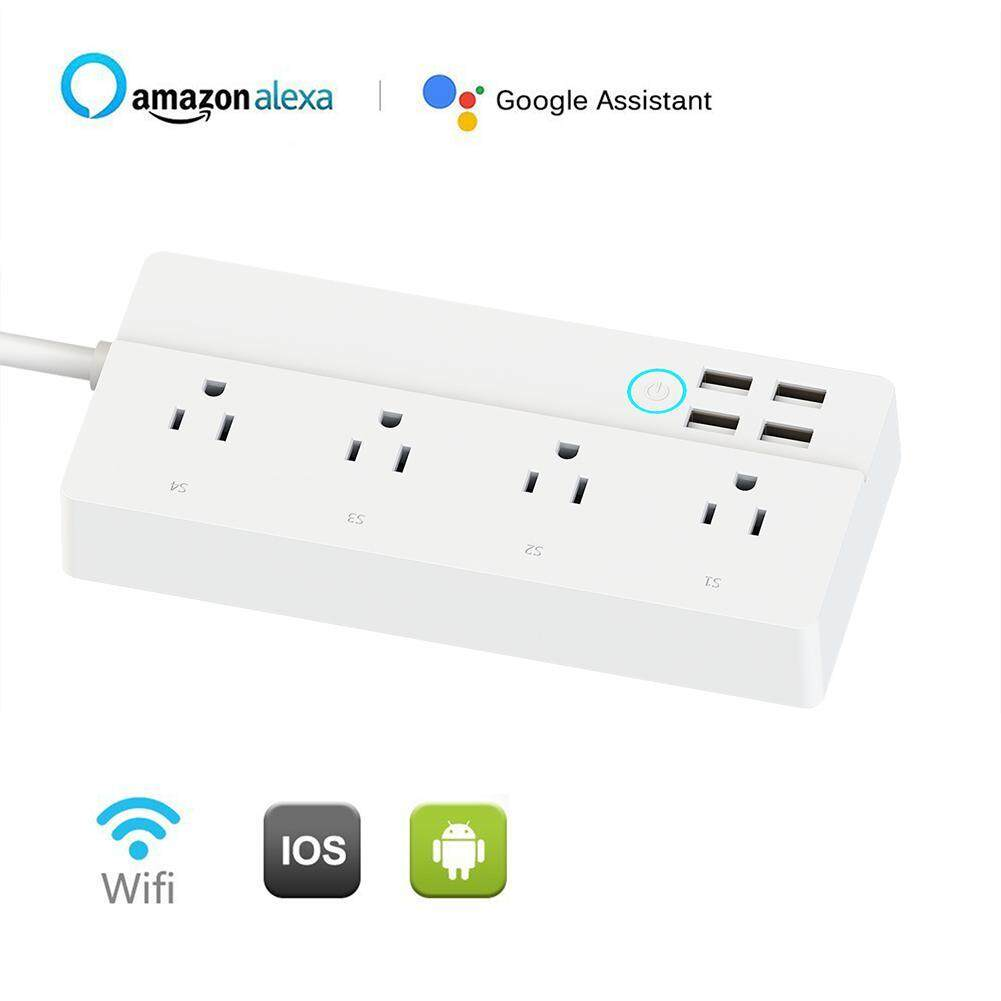 OutFlety Power Strip Surge Protector Universal Power Strip Works With Google Home Amazon Echo Alexa With 4 AC Outlets And 4 USB Port