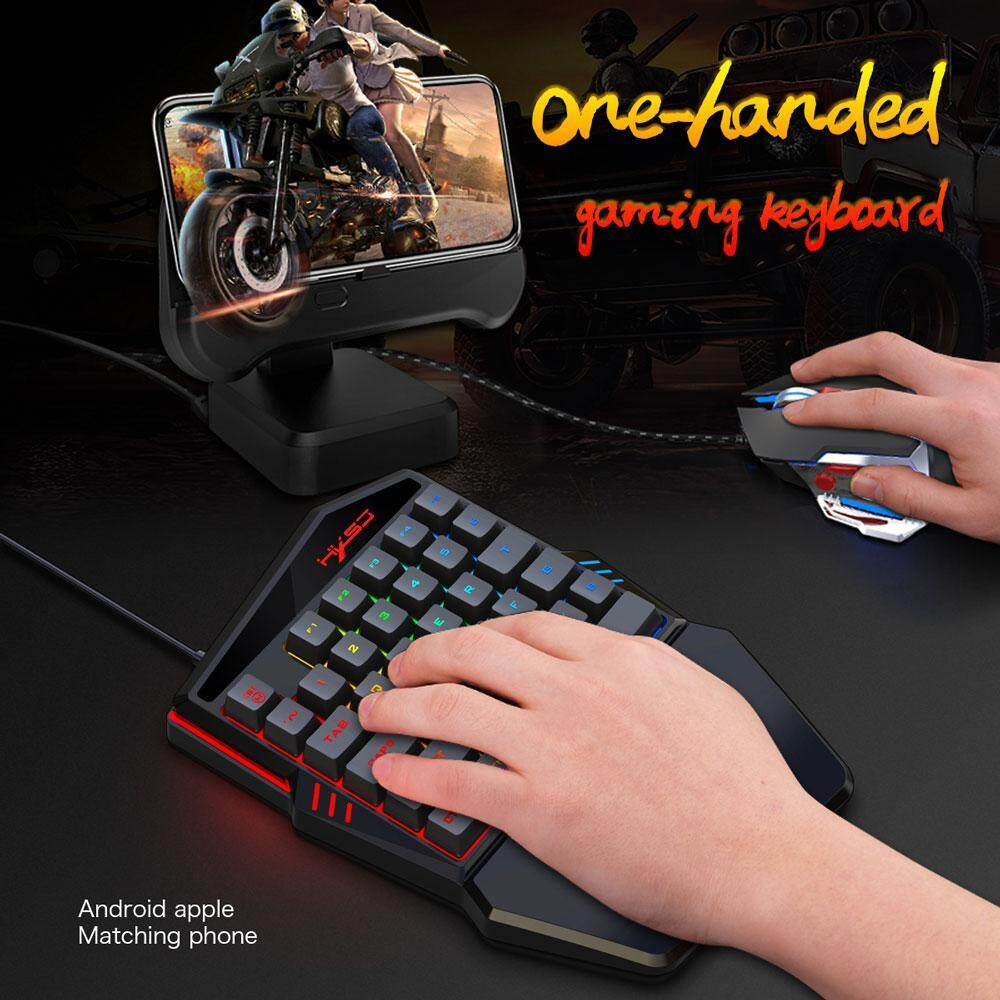 One-Handed Mechanical Gaming Keyboard One Handed Keyboard Mouse Converter RGB LED Backlit SADES Portable Mini Gaming Keypad Game Throne Keyboard Mouse Five-Pack Smart Phone Millet / Huawei / Apple for L O L/PUBG/Wow/Dota/OW/Fps Malaysia