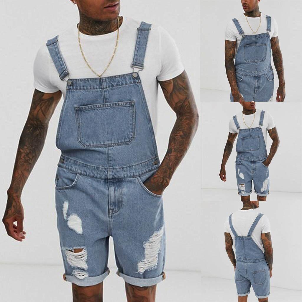 Murphystore Mens Plus กางเกงยีนส์โดยรวม Jumpsuit Streetwear โดยรวมกางเกงเอี๊ยม