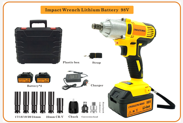 2Battery 98V Automatic Rechargeable Portable Electric Cordless Impact Wrench Impact Drill portable electric nail drill