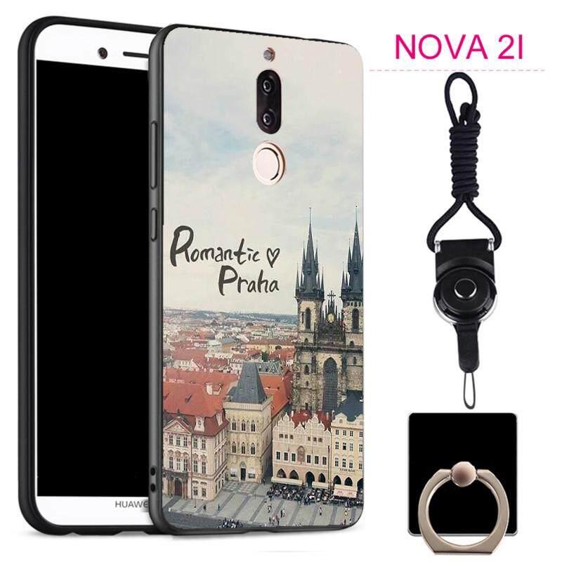 Untuk Huawei Nova 2i Silica Gel Casing Lembut Ponsel dengan Cincin dan Tali