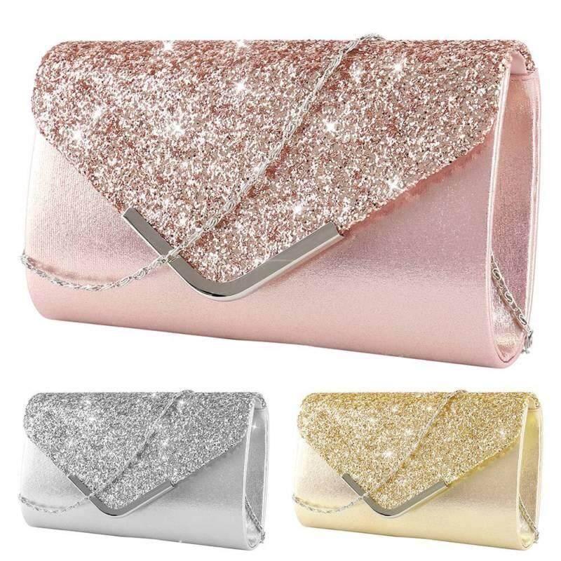 08742e74c20b Women Glitter Shimmer Clutch Bag Ladies Wedding Party Chain Purse Evening  Bag