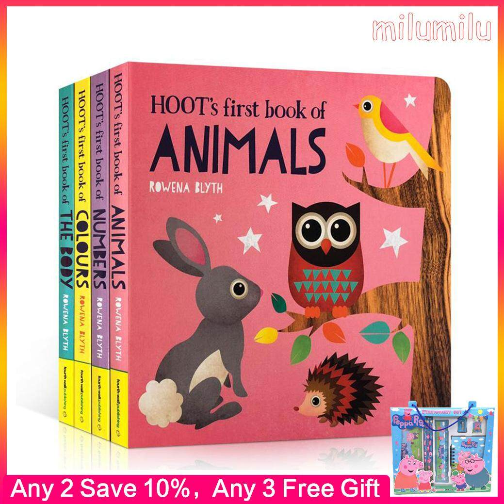 4Pcs Original English Books Hoot's First Book of Numbers Board Book 0-6 Years Old Children Educational Toy