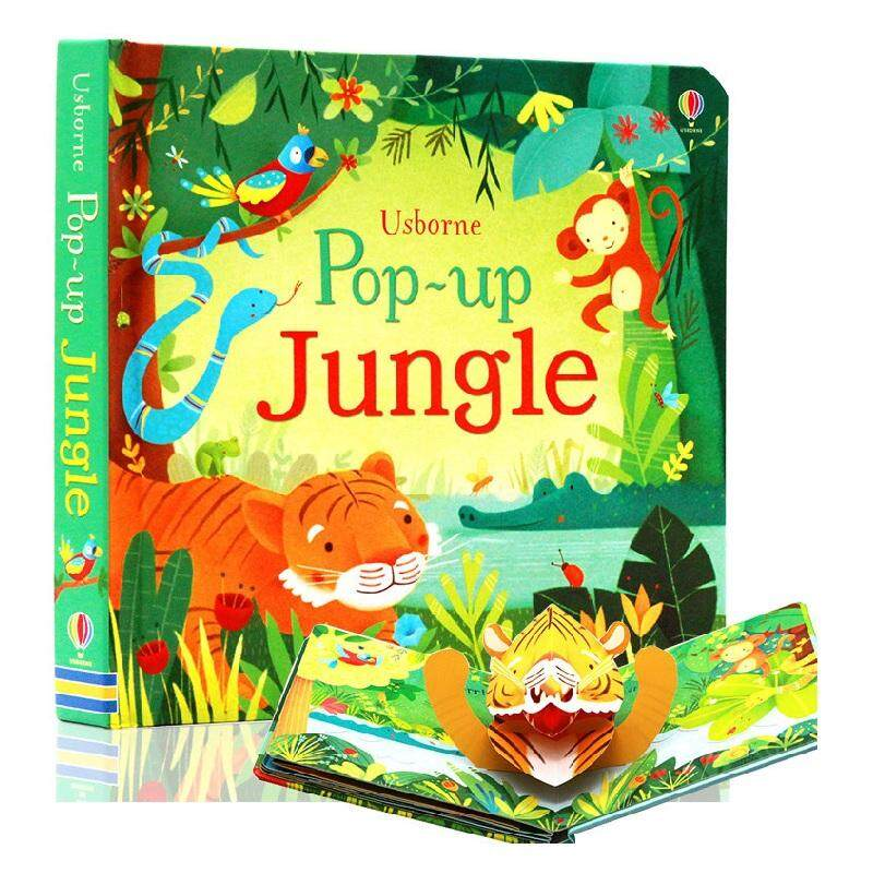 (new arrival)Usborne POP UP Jungle English Educational 3D Flap Picture Books Baby Learning English Forest Word Children Kids Reading Book Kids Gifts