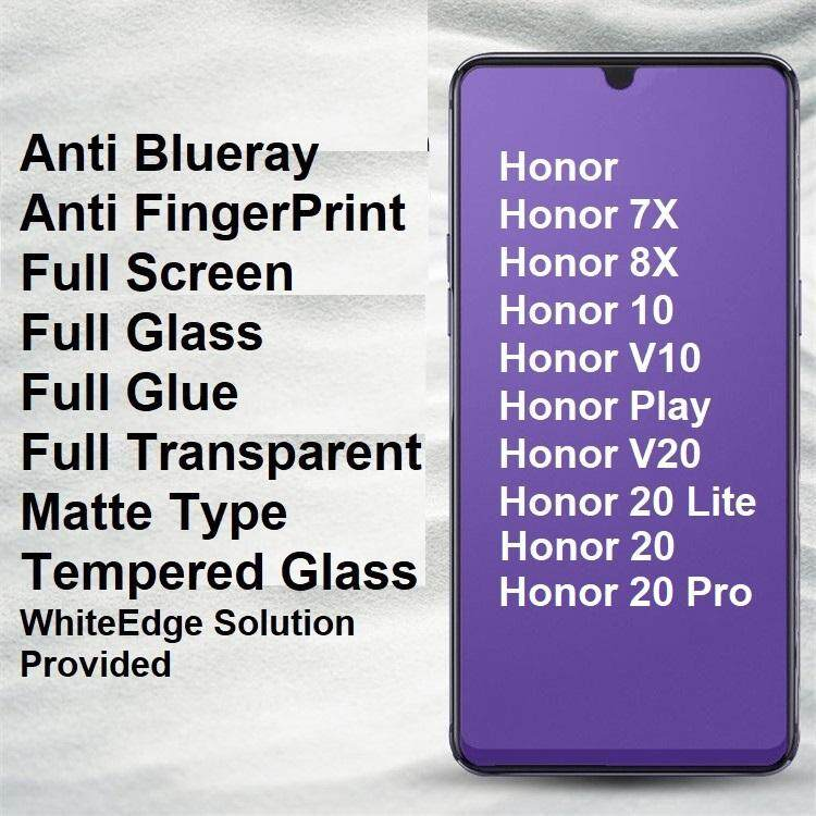 Huawei Honor 10 V10 V20 Play 7X 8X 20 Lite Pro Matte Anti BlueRay Full  Tempered Glass