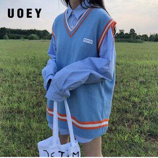 UOEY Bộ Áo Len Dệt Kim Cổ Chữ V Phong Cách Preppy BM Hàn Quốc 2020 Áo Len Không Tay Màu Áo Chui Đầu Nữ Xuân Thu Đông Womens (X997) thumbnail