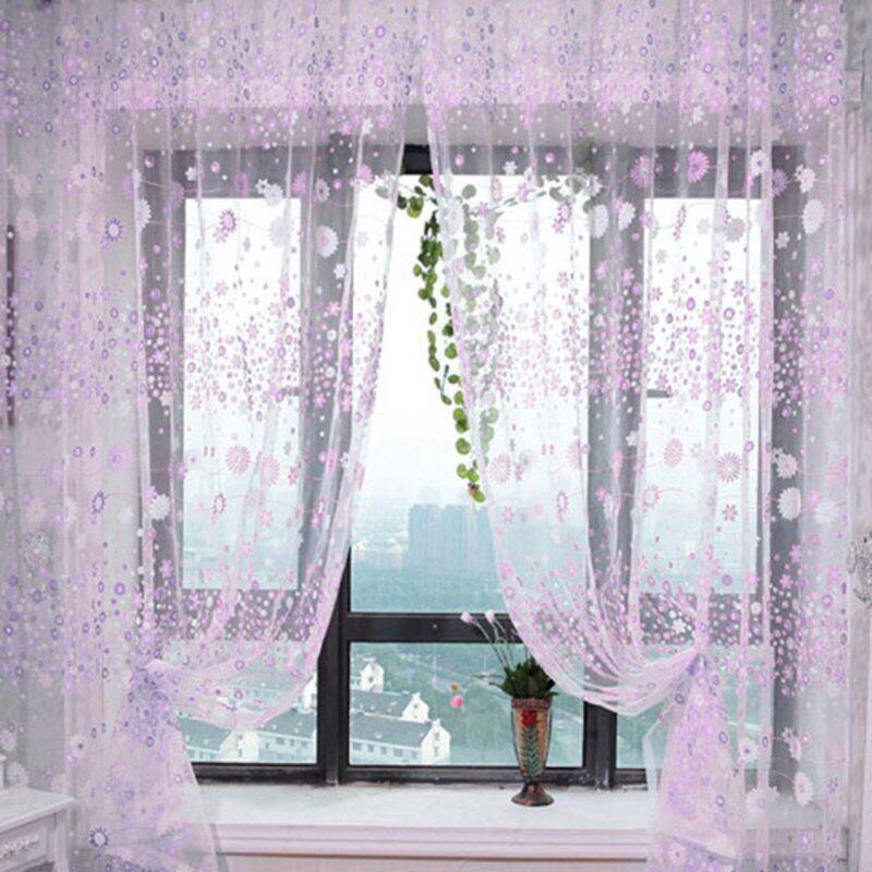 Rèm Cửa Sổ Cửa Sổ Voan Vải Tuyn In Hoa Sheer Drape Bảng Điều Chỉnh 200x100CM