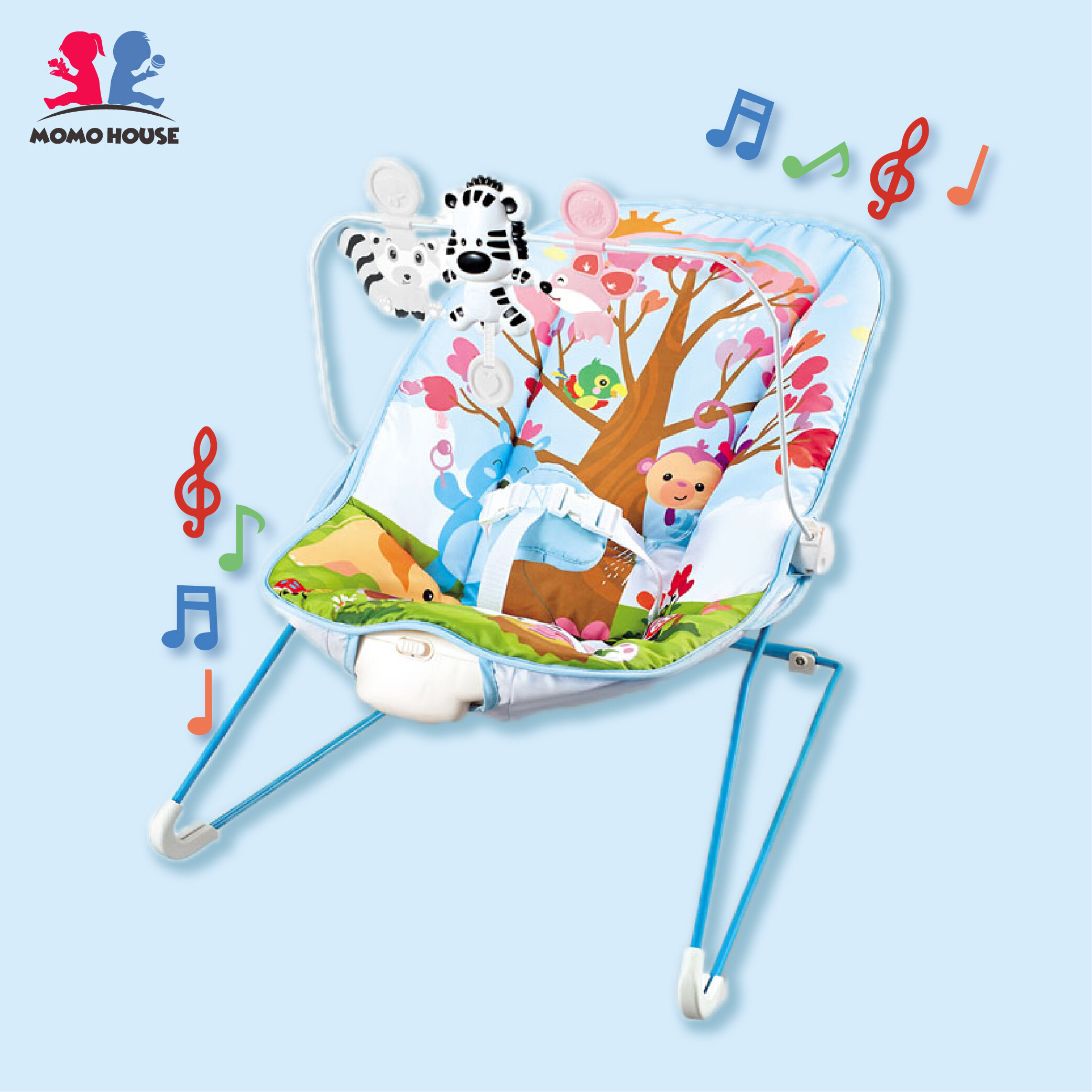MOMO HOUSE Baby Rocker Bouncer Chair With Toys & Music