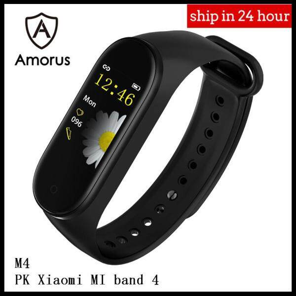 Amorus HOT M4 Band Color Screen IP67 Waterproof Health Monitoring Fitness Tracker Smart Watch with TPU Strap