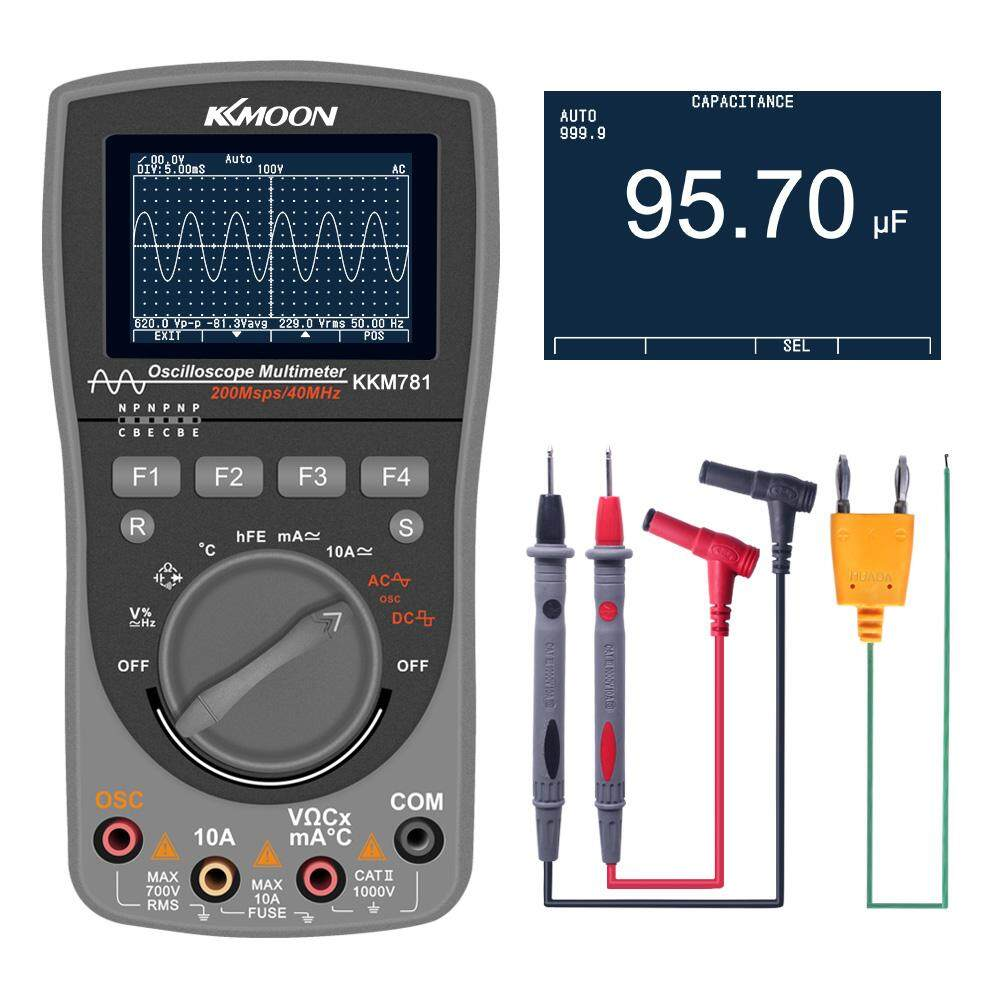 KKmoon Intelligent Digital Storage Scopemeter 2-in-1 One Key Auto Oscilloscope OSC 6000 Counts True RMS Multimeter DMM AC/DC Voltage Current Resistance Capacitance Frequency Meter