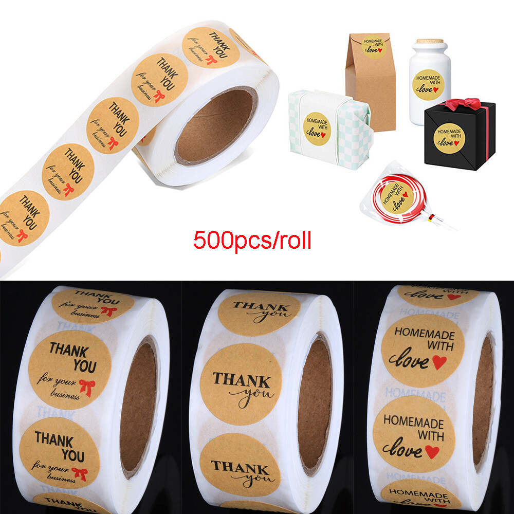 Supplies Wedding Decor Box Handmade with Love Kraft Stickers Tag Package Label