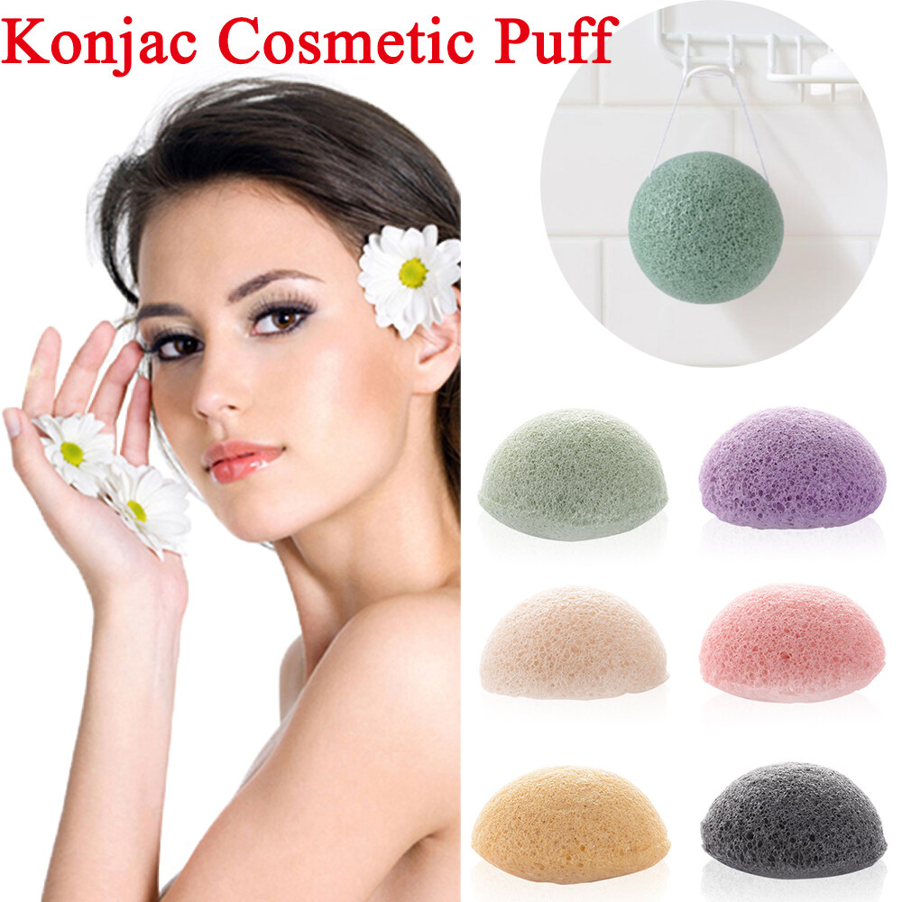 1* Flutter Round Shape Makeup Tools Cleaning Exfoliator Natural Cosmetic Facial Washing Cosmetic Puff Konjac Sponge Face Care
