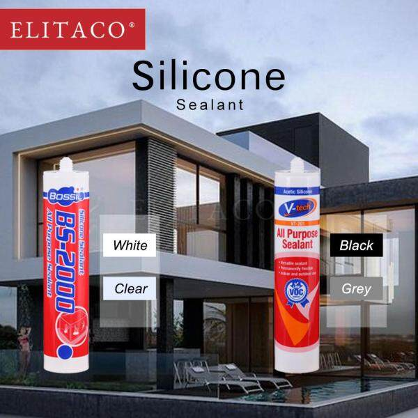 【ELITACO】Bossil & Vtech 280ml Acetic Silicone Adhesive Sealant Indoor Outdoor Use
