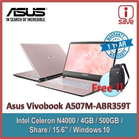 ASUS VIVOBOOK  A507M-ABR359T Rose Gold  (CELERON N4000, 4GB, 500GB, INTEL,15.6, W10, 1year) Malaysia