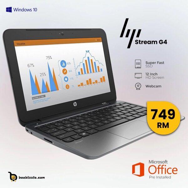 HP STREAM 11 PRO G4 EEE , 12 INCH,, INTEL PROCESSOR, 4GB RAM, 64 GB, WINDOWS 10, WEBCAM ETC Malaysia