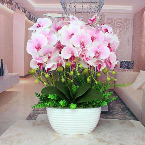 Butterfly Orchid Imitation Flowers Set Decoration Living Room Corsage Artificial Flowers Overall Vase Silk Flower Floral Asian Creative Luxury Art Works Potted Plant