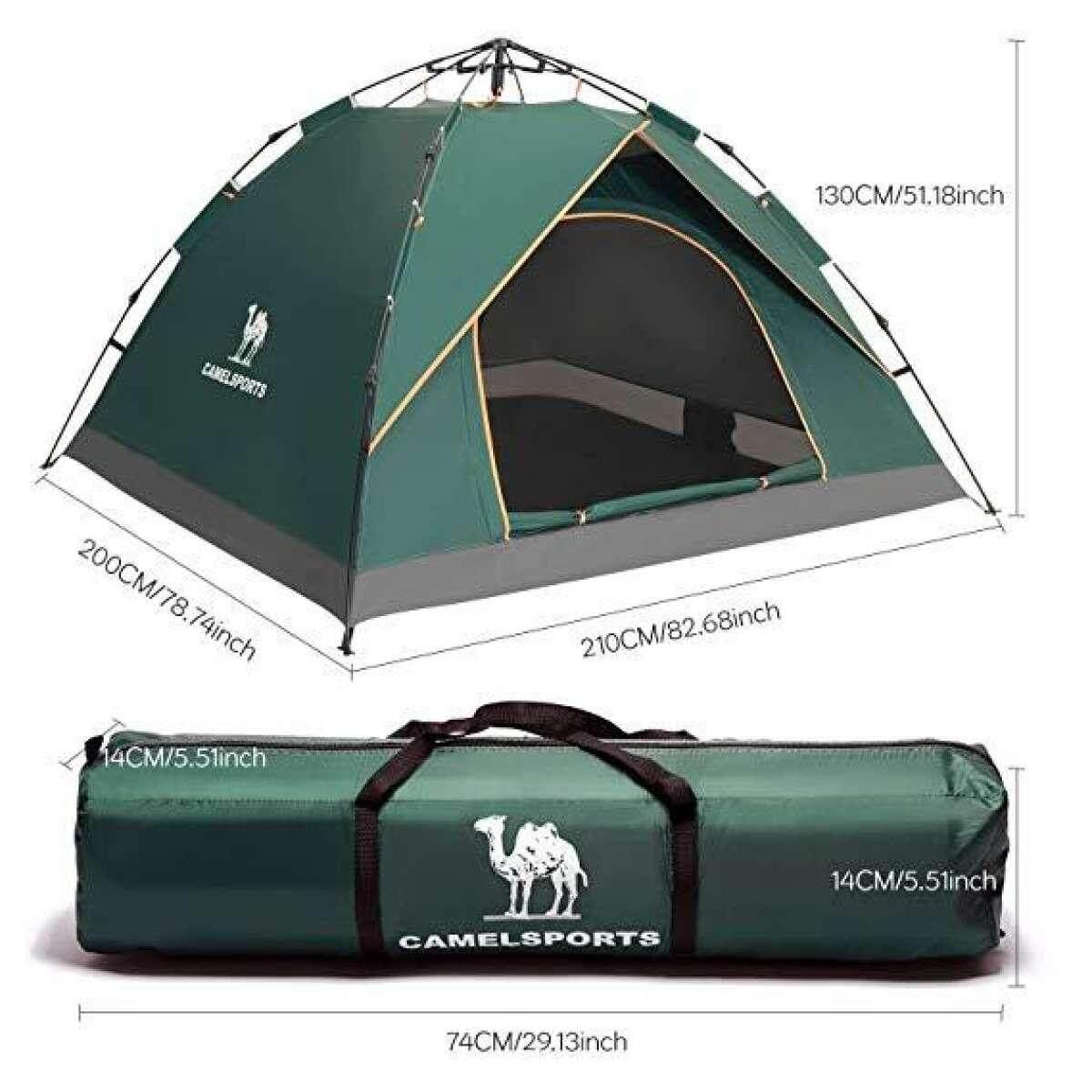 Unta 2-3 Orang Keluarga Hidrolik Otomatis Tenda Instan Tenda Sembul Anti UV Anti-