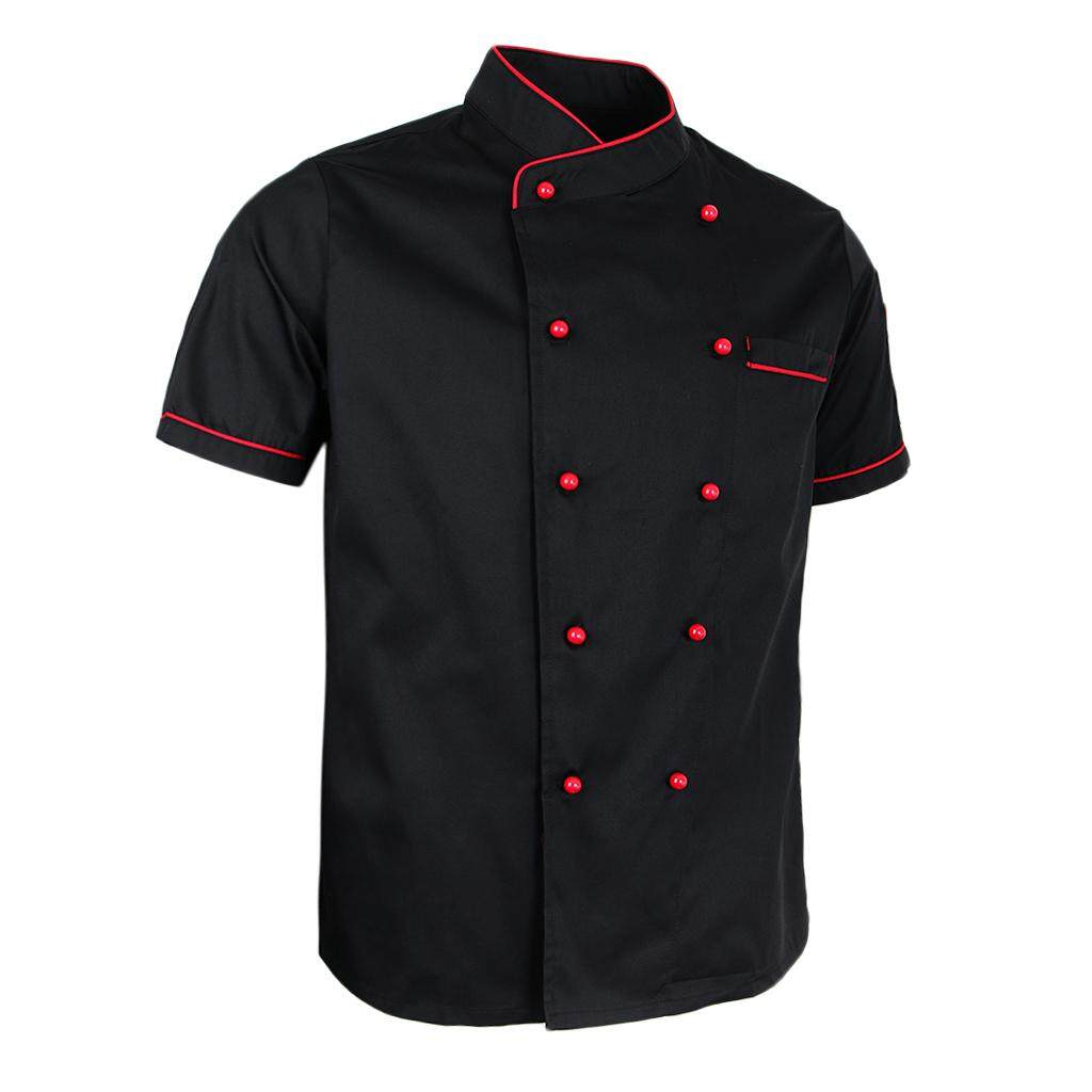 Blesiya 2PCS Unisex Chef Jacket Coat Short Sleeve Restaurant Hotel Work Uniform M