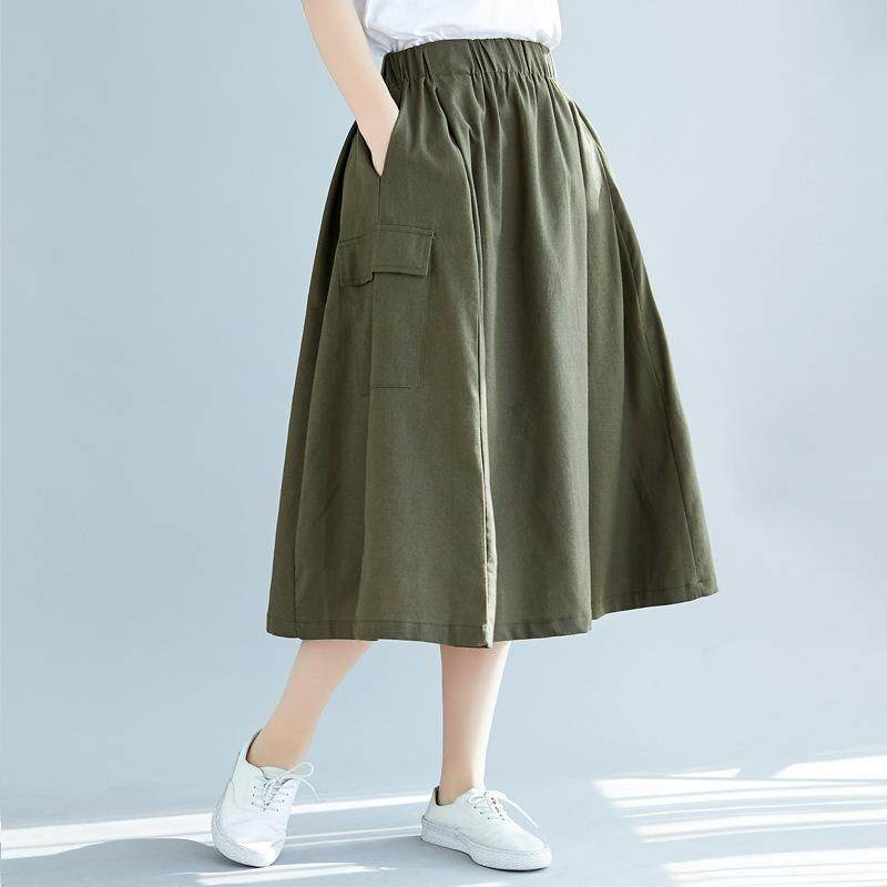 473037b36 SUNNYBEST Women Summer Casual Fashion High Waist Plus Size Loose Pleated A-line  Skirt