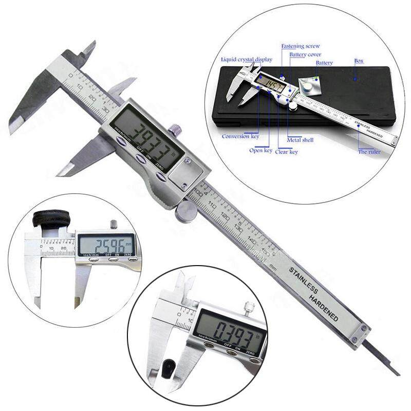 6 Vernier Caliper Stainless Steel Micrometer Electronic Digital LCD Display 1pc Brand New