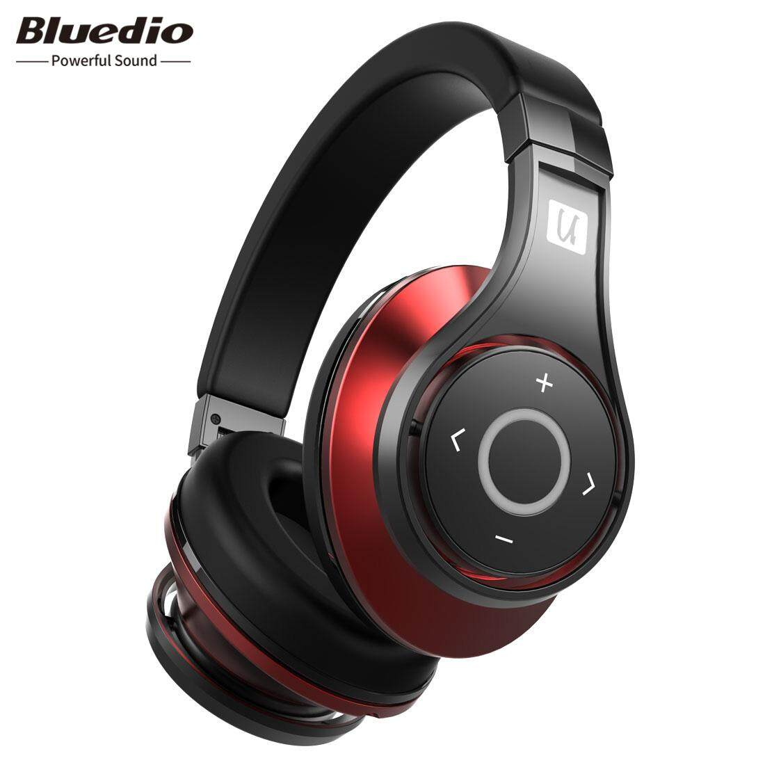 Bluedio UFO Headphone Bluetooth Headset Nirkabel 3D Surround 25HRS Bermain dengan MIC (Hitam/Merah