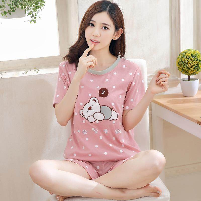 6f4af628c6 【SIMPLE & NICE】China Fashionista Women Doze Bear Design Casual Summer Wear  Set (