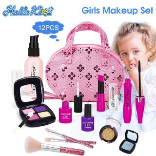 HelloKimi Túi trang điểm đồ chơi gồm các phụ kiện mô phỏng dụng cụ làm đẹp dành cho trẻ em có kèm túi đựng thumbnail