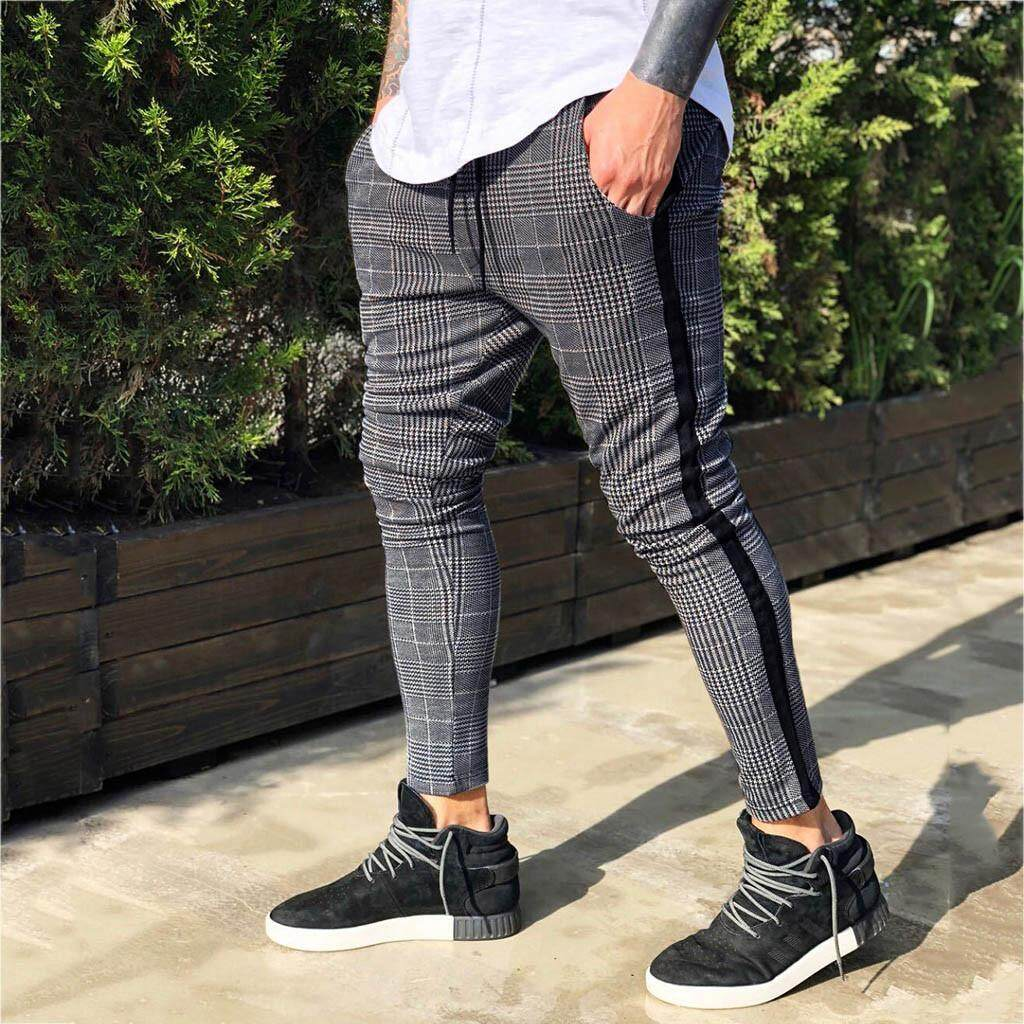 Mens Jogging Running Gym Sports Bottoms Trousers Jogger Plaid Slim Fit Pants
