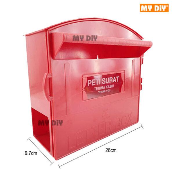 MYDIYSDNBHD - Letter Box With Holder / Post Box With Paper Holder / Mail Box / PVC Post Letter Box / Red Plastic Mail Box / Peti Surat Plastic