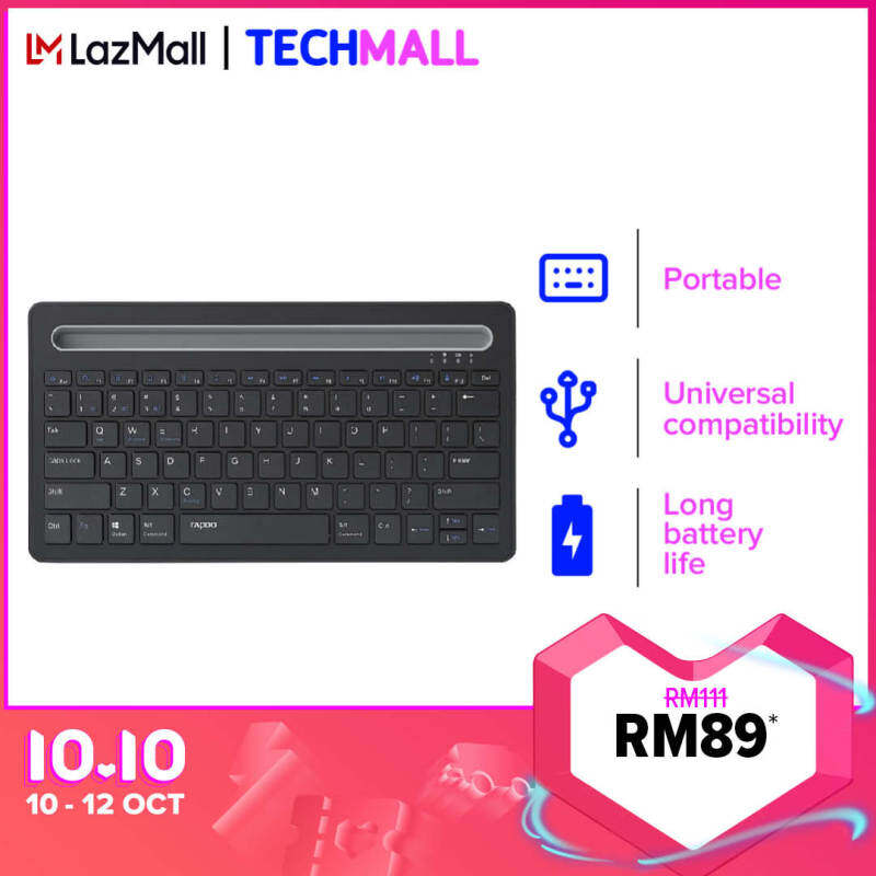 Rapoo XK100 Multi-Device Bluetooth Keyboard, Rechargeable Noiseless Portable Wireless Keyboard [2 Years Official Warranty] Malaysia