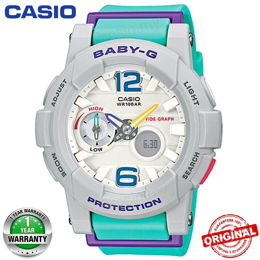 (Ready Stock) Baby-G BGA180 Duo W/Time 100M Water Resistant Shockproof and Waterproof Tidal Chart Display World Time Girls Sports Watch LED Auto Light Sport Wrist Watches for Women with 1 Year Warranty BGA-180-3BPR Light Green Malaysia