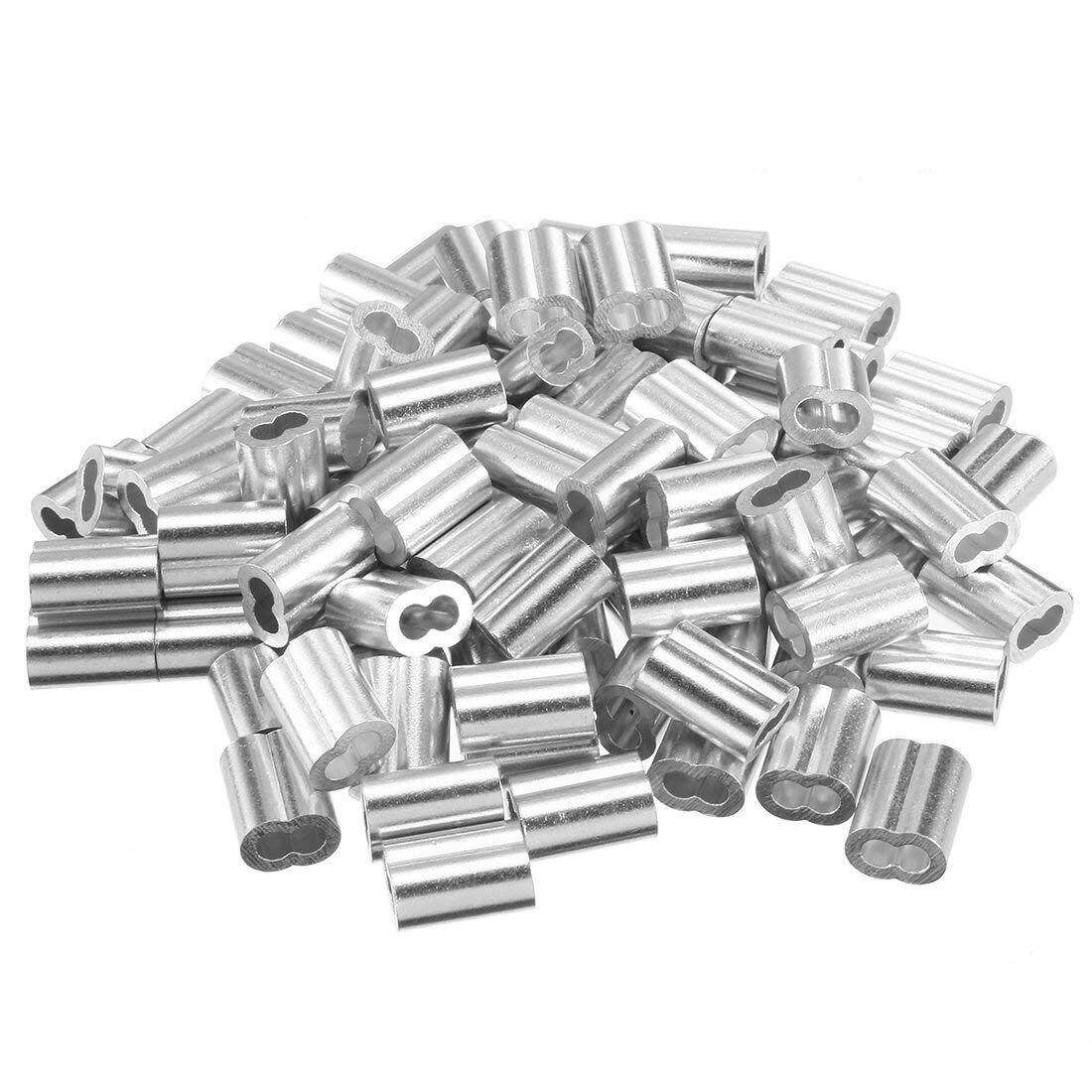 5/64 inch (2mm) Diameter Wire Rope Aluminum Sleeves Clip Fittings Cable Crimps 100pcs