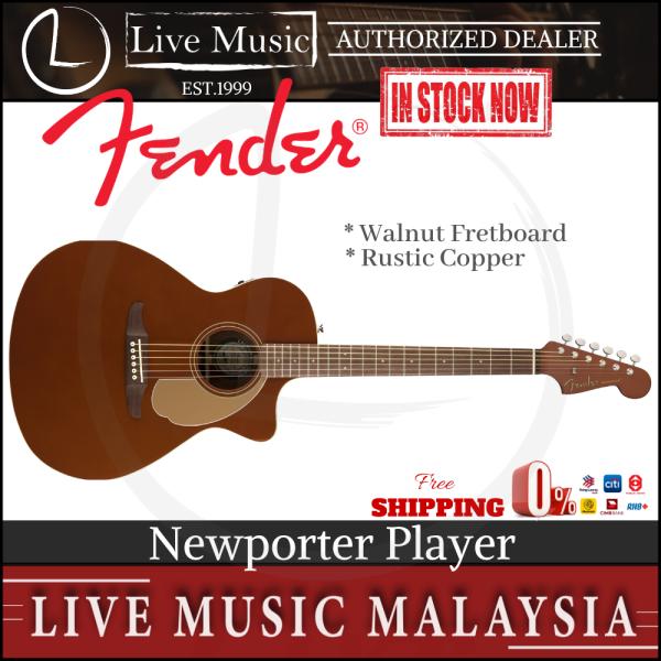 Fender California Newporter Player Medium-Sized Acoustic Guitar, Rustic Copper Malaysia