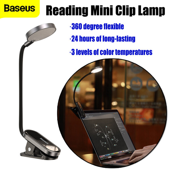 Baseus Comfort Reading Mini Clip Lamp Led Desk Lamp Clip-On Night Light Reading Computer Keyboard Illuminated Eye Protection Lamp with USB Charging for Bedroom