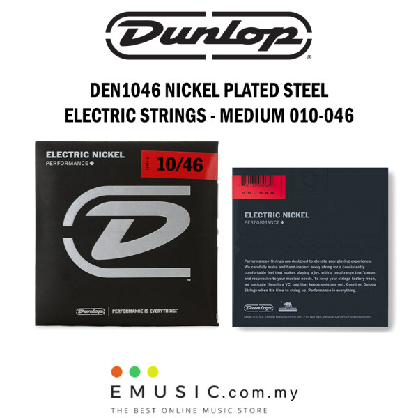 Jim Dunlop DEN1046 Nickel Plated Steel Electric Guitar Strings Medium 010-046 Malaysia