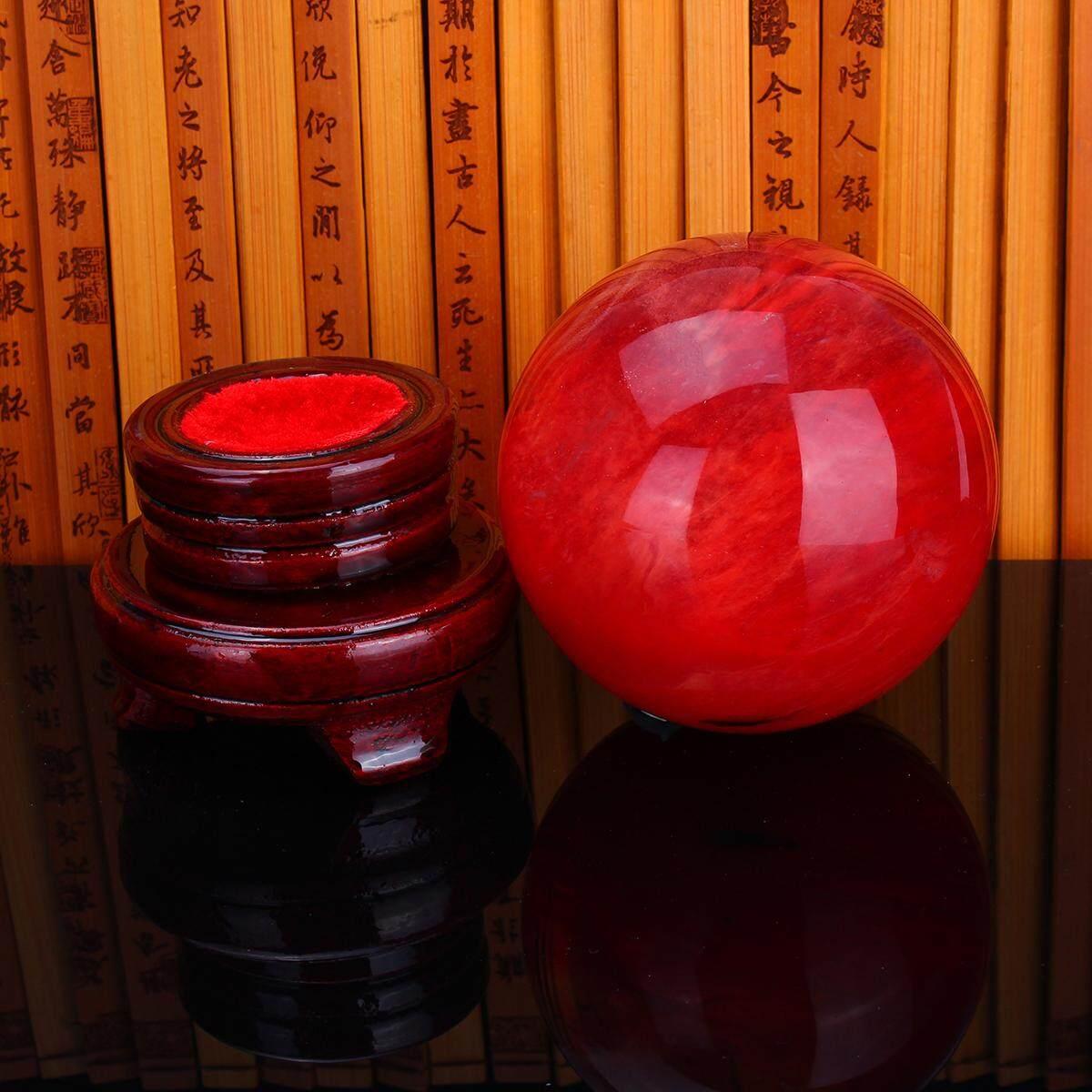 (photo)Red Crystal Ball Citrine Calcite Quartz Sphere Healing Gemstone Car Brand New