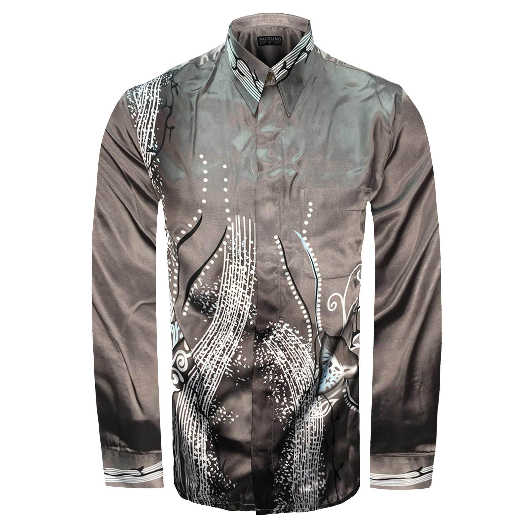 factory price 86353 9501c Pacolino - Long Sleeve Grey Color Printed Batik Shirt -BK7924