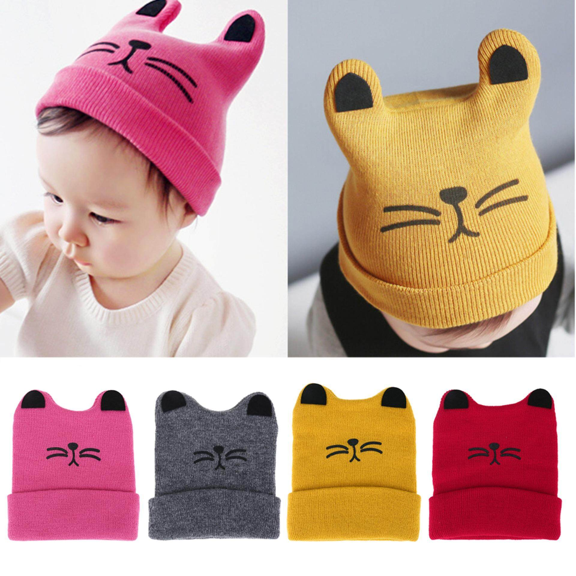 01959828c30b74 DomybestShop Baby Fashion Hats Newborn Cat Ear Hats Autumn Winter Boys  Girls Cartoon Knitting Cap