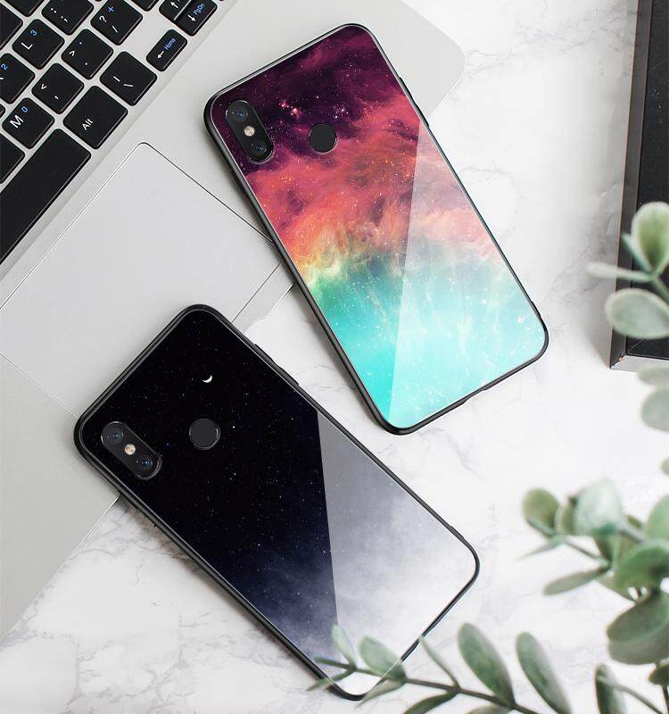 Luxury Glass Case for OPPO A83 A81 Moon and Starry Sky Couple Models Glass  Phone Case Back Cover for Oppo A 81 A 83 Housing Shell