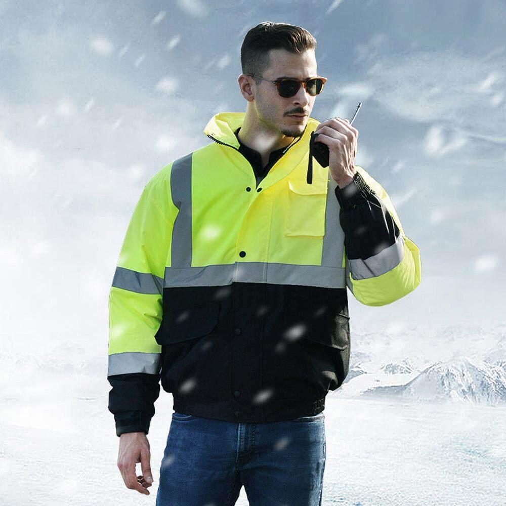 SFVest High Visibility Reflective Cotton Coat Waterproof Rain Jacket Luminous Safety Outdoor Traffic Hiking Riding Warning Safety Winter Cotton Jacket