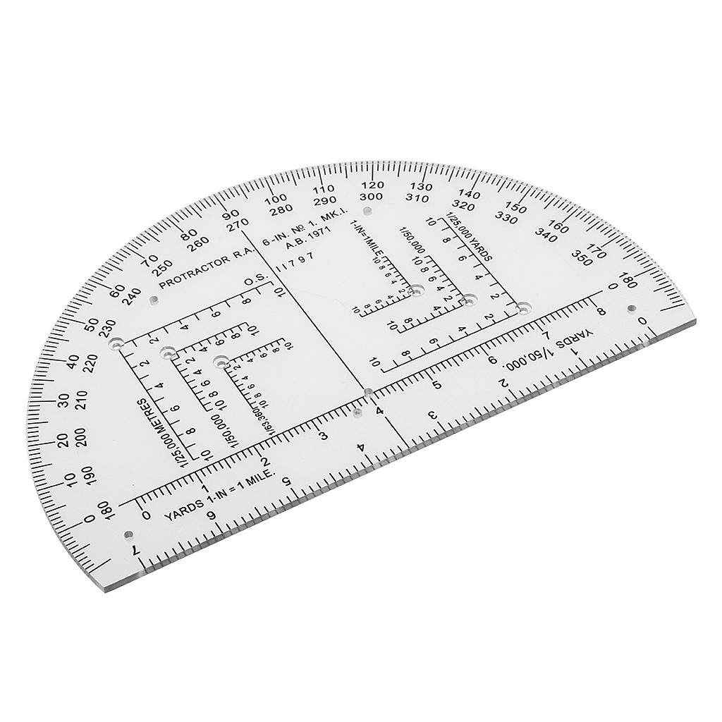 Loviver 6 Inch Plastic Protractor Map Reading Tool Half Circle Design for Map Reading