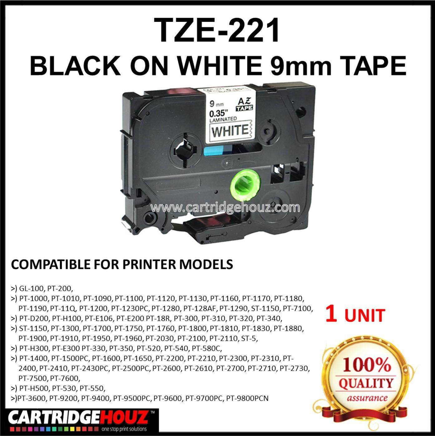 Compatible Brother P-Touch Tze-221 / Tze221 Black On White 9mmx8m Tape By Cartridge Houz.